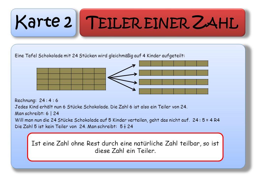 Karte 2 Teiler einer Zahl