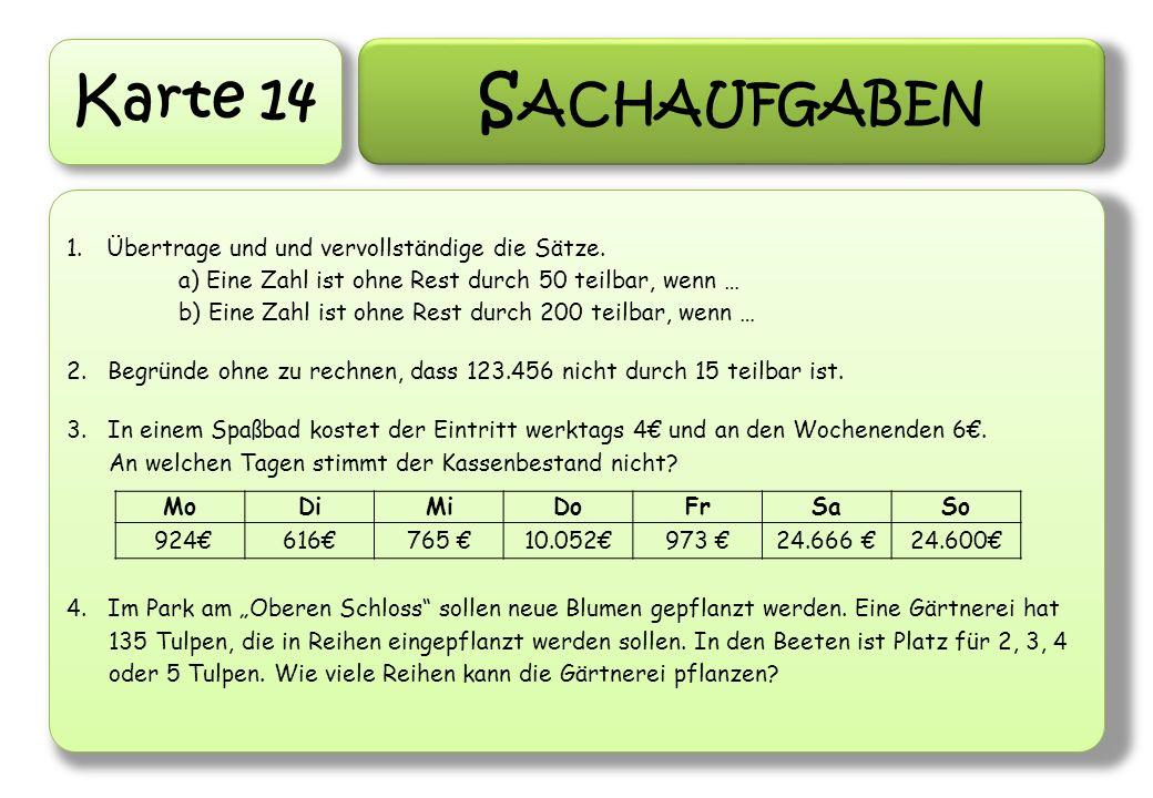 Sachaufgaben Karte 14 Übertrage und und vervollständige die Sätze.