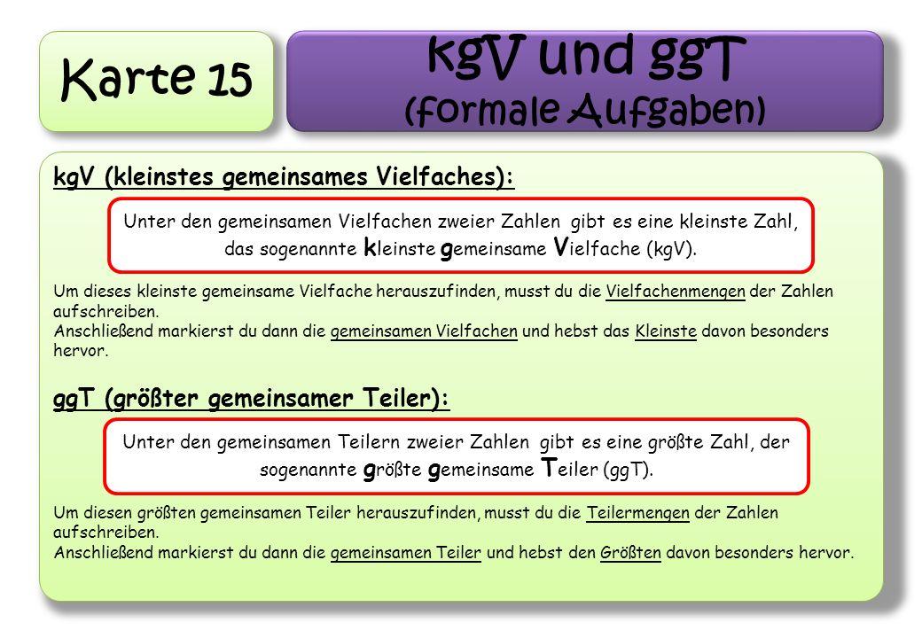 kgV und ggT Karte 15 (formale Aufgaben)
