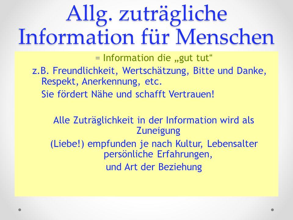 Allg. zuträgliche Information für Menschen