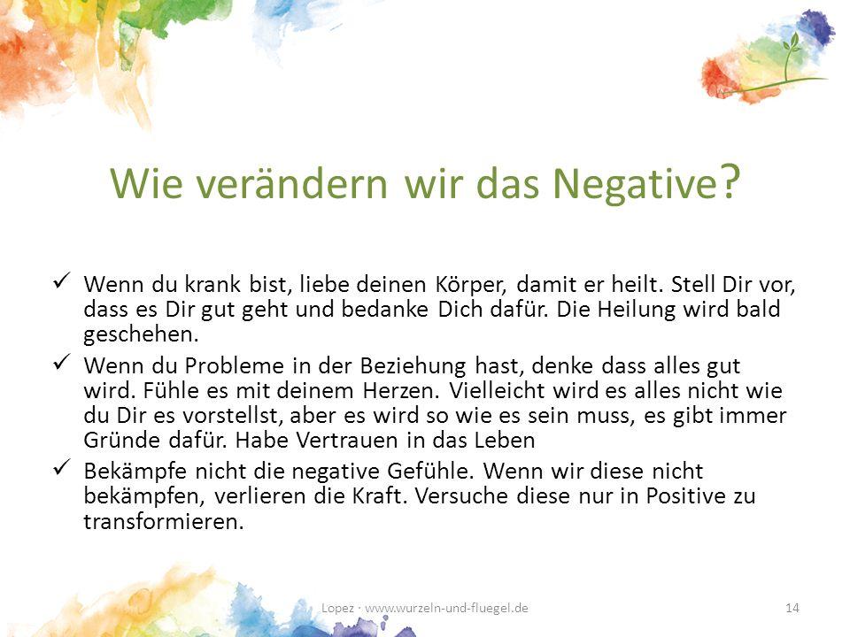 Wie verändern wir das Negative