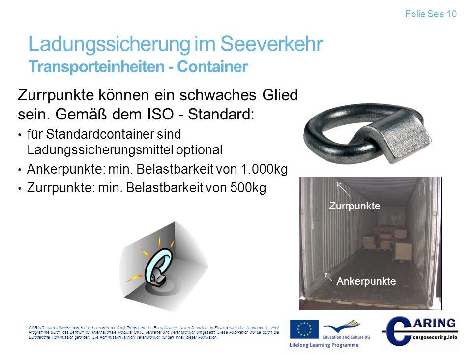Ladungssicherung im Seeverkehr Transporteinheiten - Container