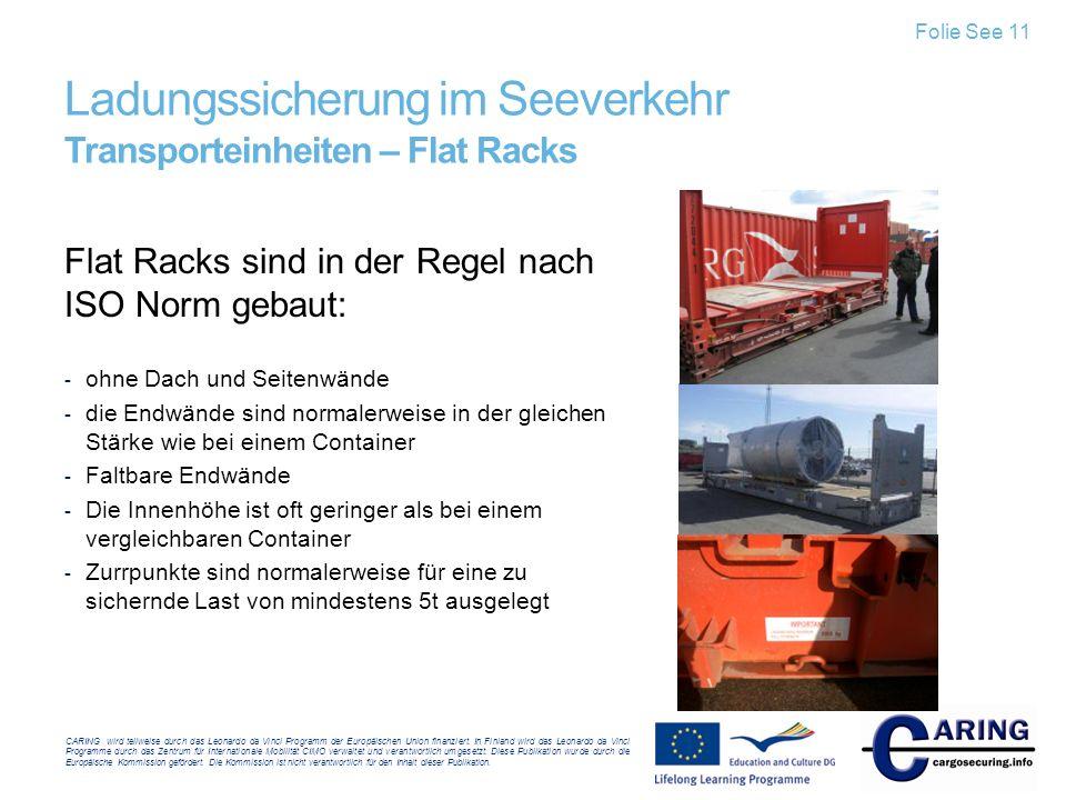 Ladungssicherung im Seeverkehr Transporteinheiten – Flat Racks