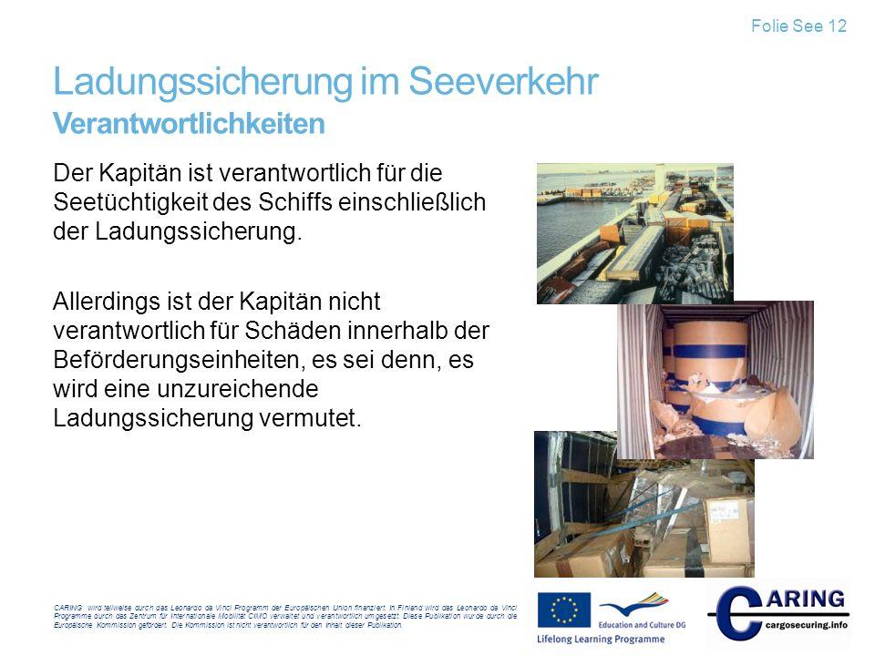 Ladungssicherung im Seeverkehr Verantwortlichkeiten