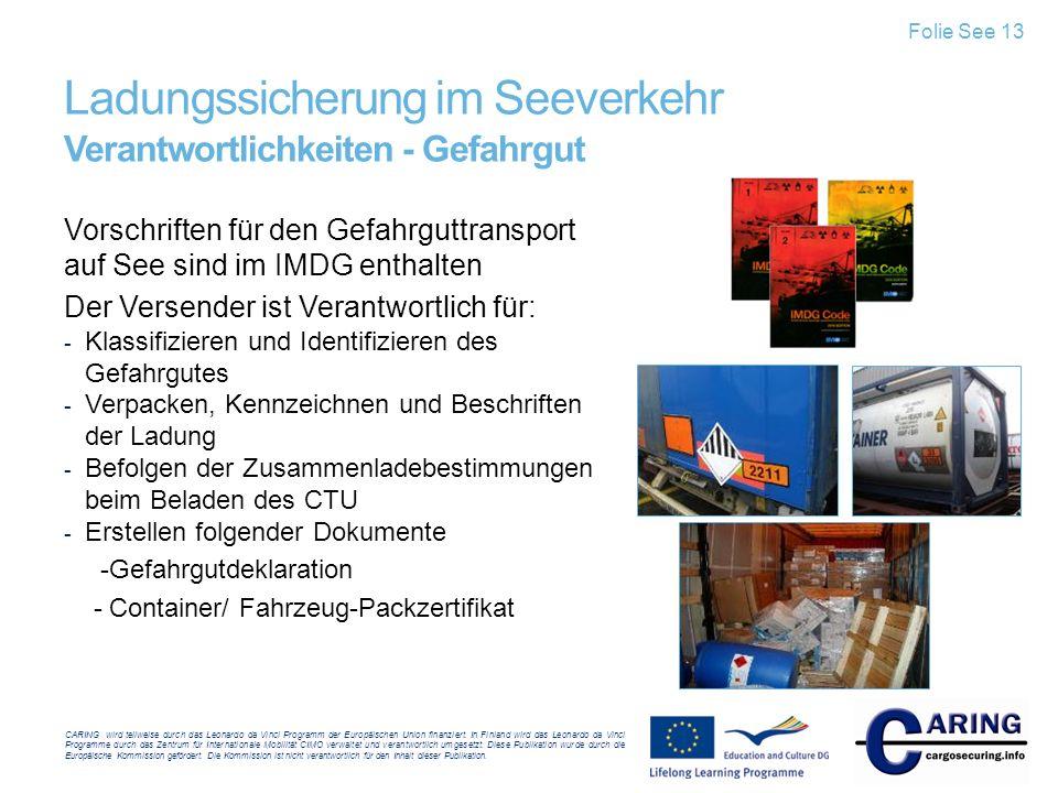 Ladungssicherung im Seeverkehr Verantwortlichkeiten - Gefahrgut