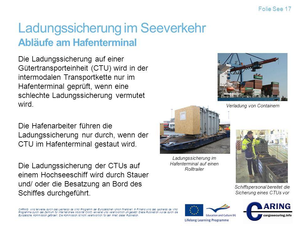 Ladungssicherung im Seeverkehr Abläufe am Hafenterminal