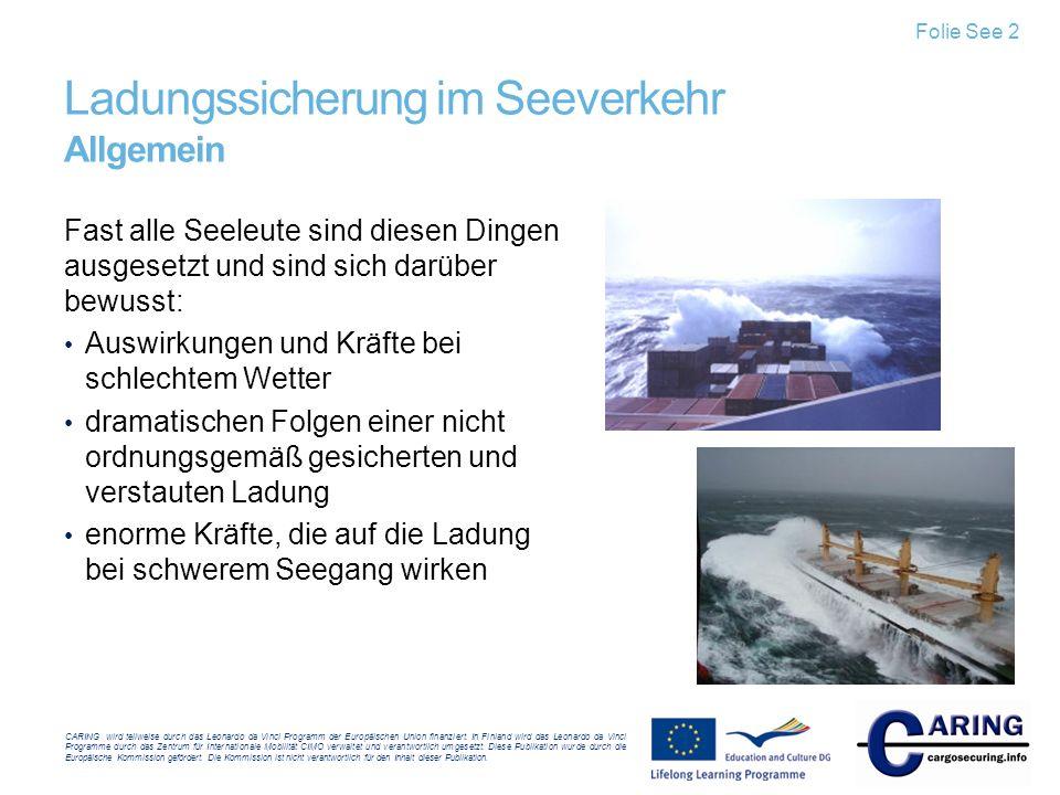 Ladungssicherung im Seeverkehr Allgemein