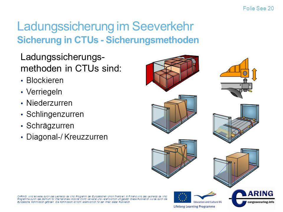 Ladungssicherung im Seeverkehr Sicherung in CTUs - Sicherungsmethoden