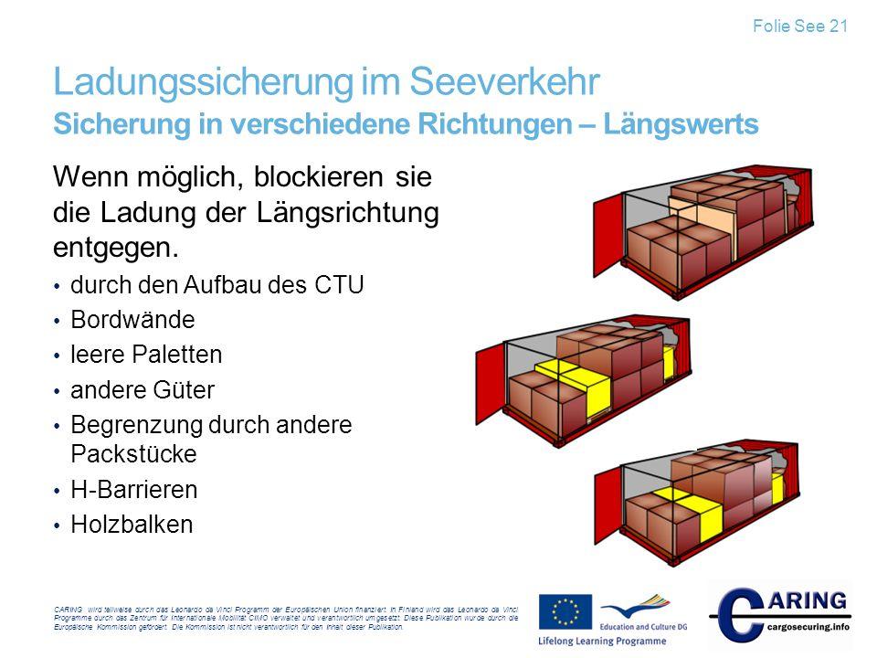 Folie See 21 Ladungssicherung im Seeverkehr Sicherung in verschiedene Richtungen – Längswerts.