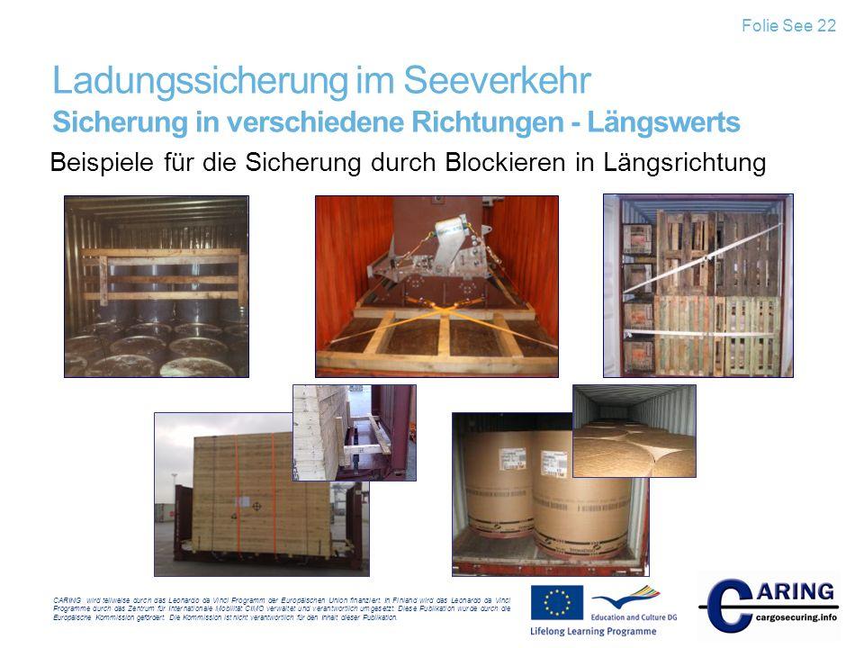 Folie See 22 Ladungssicherung im Seeverkehr Sicherung in verschiedene Richtungen - Längswerts.