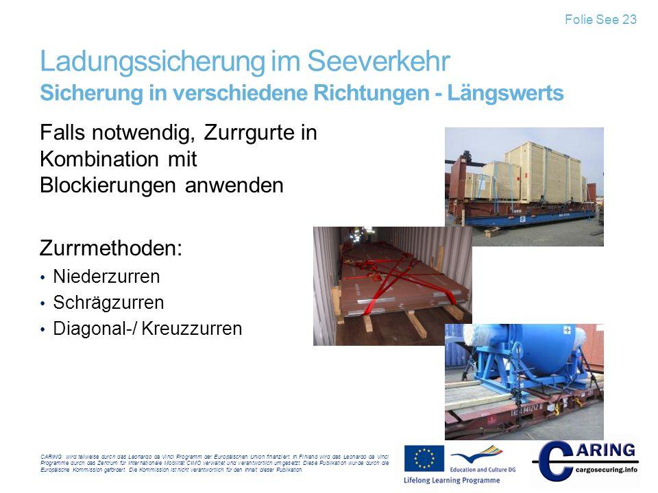 Folie See 23 Ladungssicherung im Seeverkehr Sicherung in verschiedene Richtungen - Längswerts.