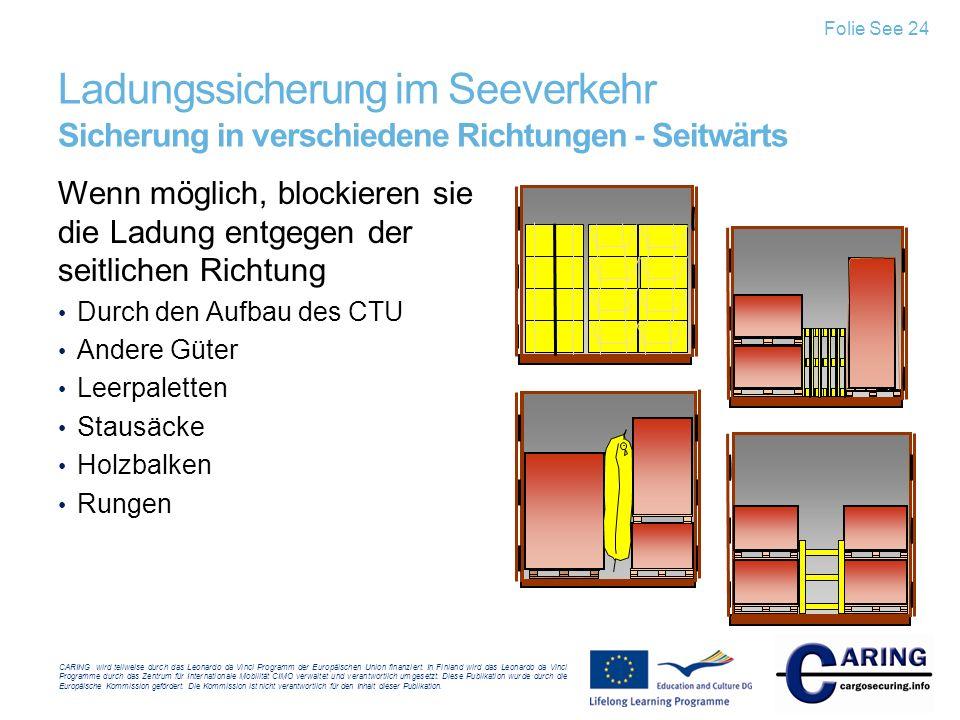 Folie See 24 Ladungssicherung im Seeverkehr Sicherung in verschiedene Richtungen - Seitwärts.