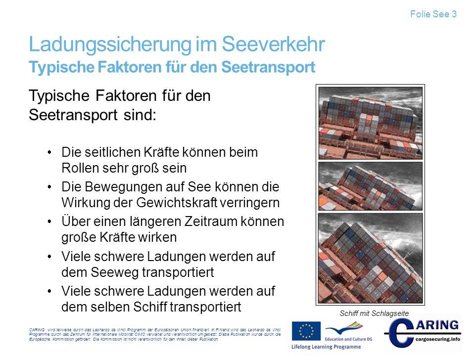 Ladungssicherung im Seeverkehr Typische Faktoren für den Seetransport