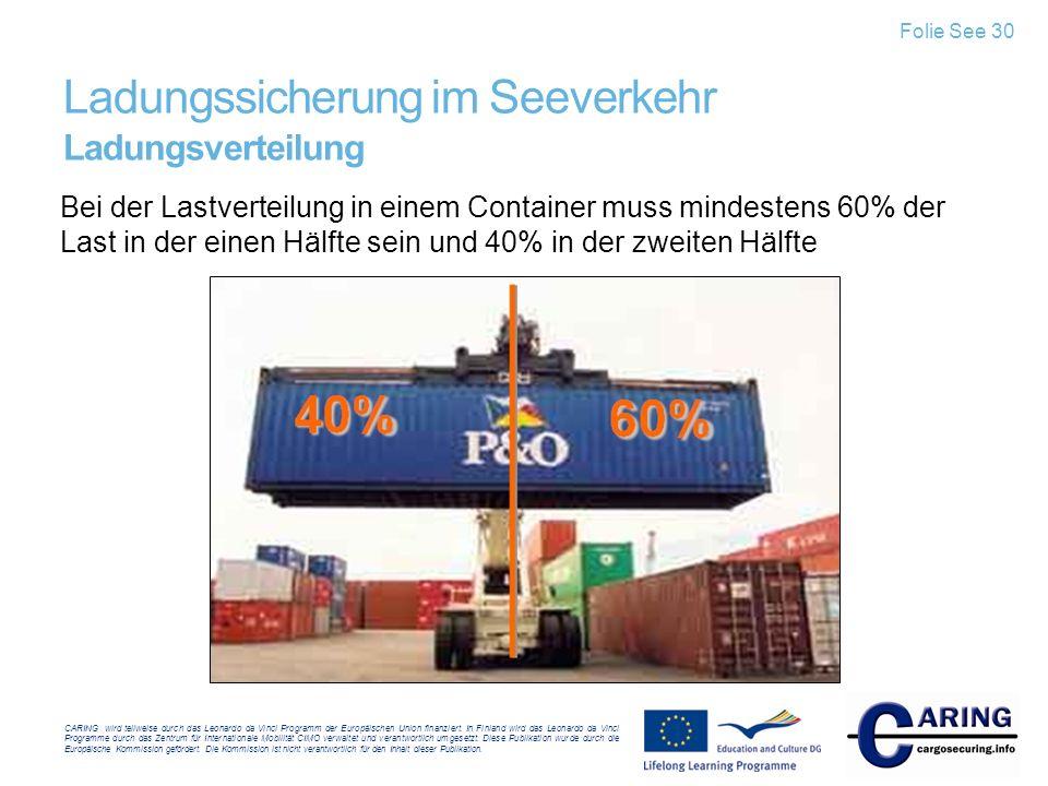 Ladungssicherung im Seeverkehr Ladungsverteilung