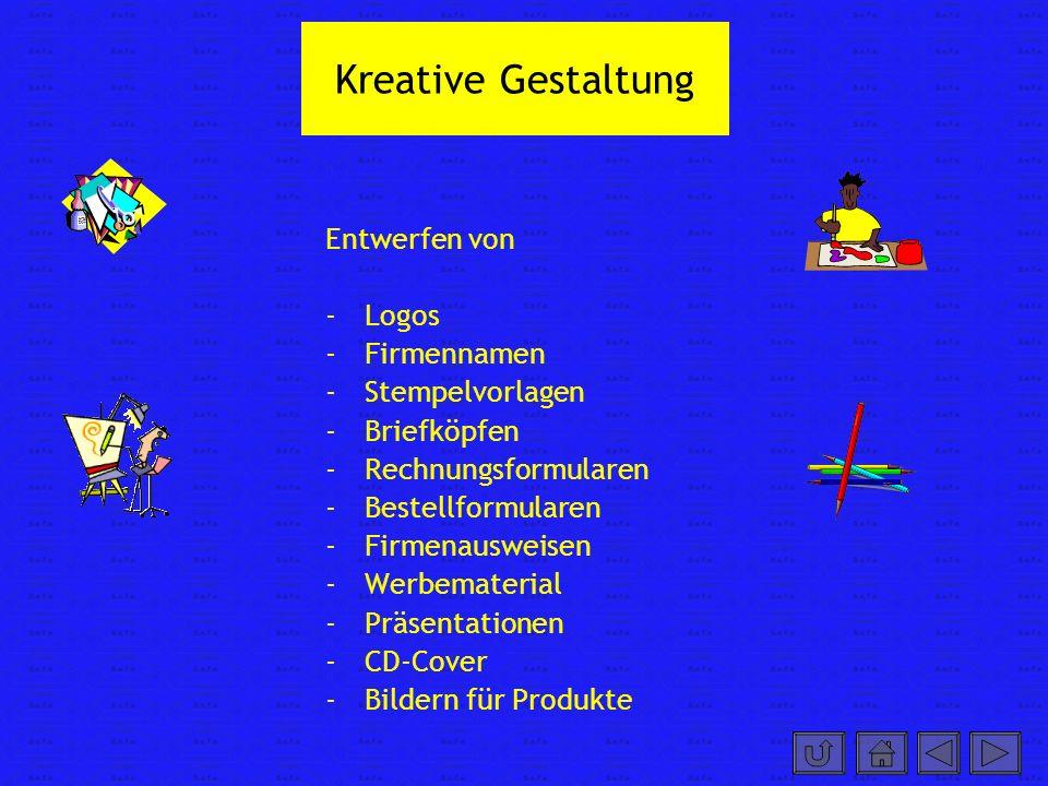 Kreative Gestaltung Entwerfen von Logos Firmennamen Stempelvorlagen