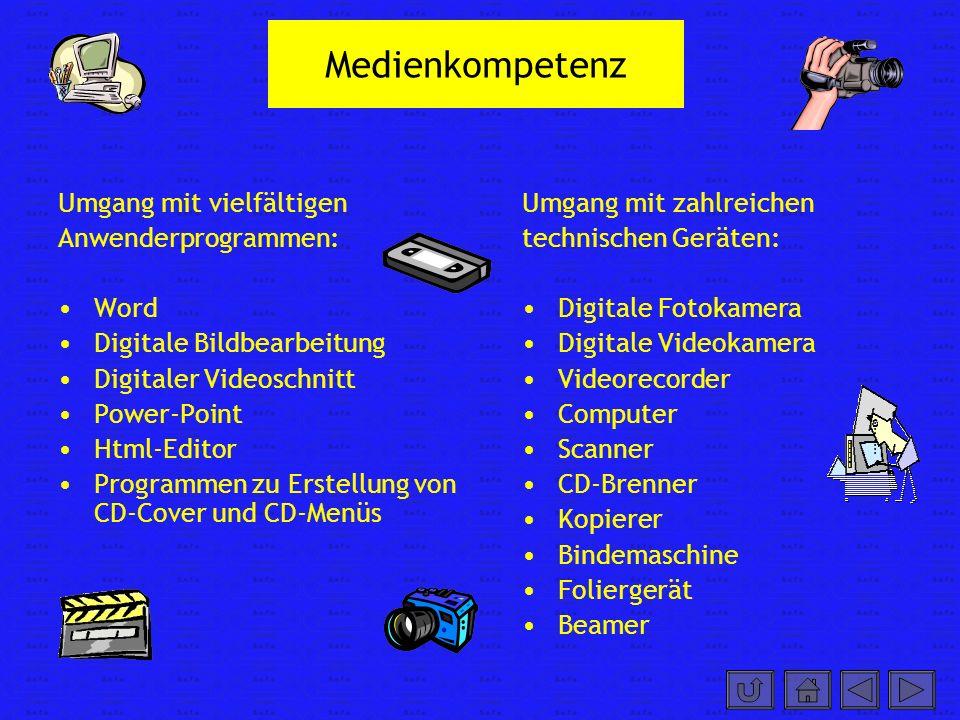 Medienkompetenz Umgang mit vielfältigen Anwenderprogrammen: Word