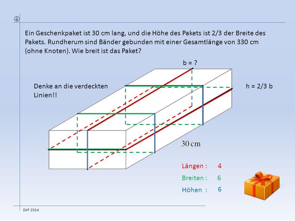 Denke an die verdeckten Linien!! h = 2/3 b