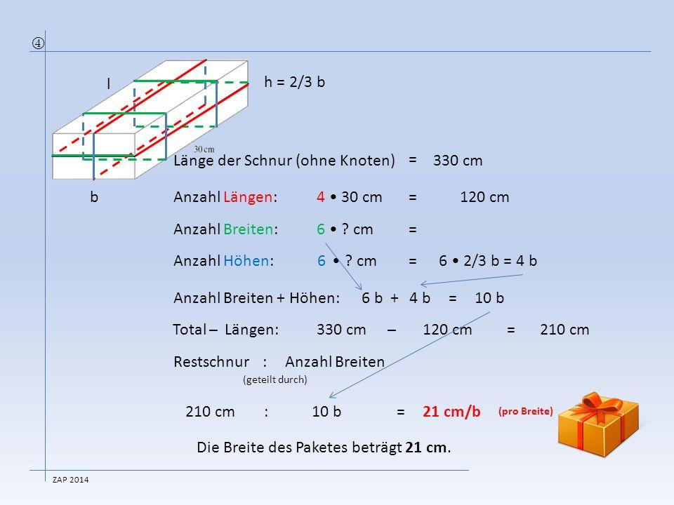 Länge der Schnur (ohne Knoten) = 330 cm