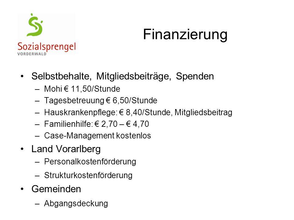 Finanzierung Selbstbehalte, Mitgliedsbeiträge, Spenden Land Vorarlberg