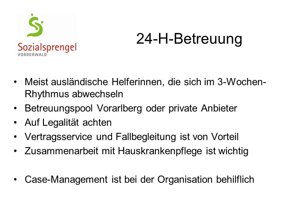 24-H-Betreuung Meist ausländische Helferinnen, die sich im 3-Wochen-Rhythmus abwechseln. Betreuungspool Vorarlberg oder private Anbieter.