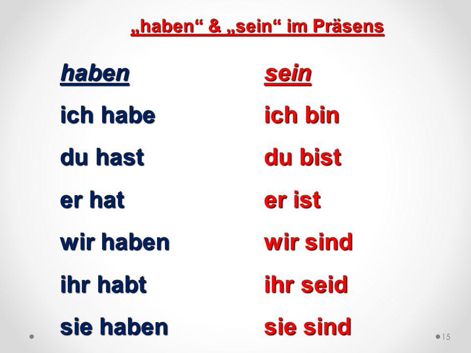 """""""haben & """"sein im Präsens"""