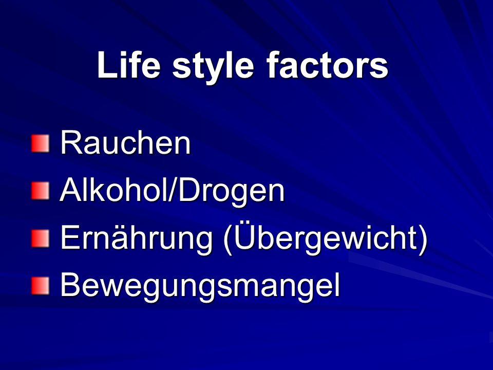 Life style factors Rauchen Alkohol/Drogen Ernährung (Übergewicht)