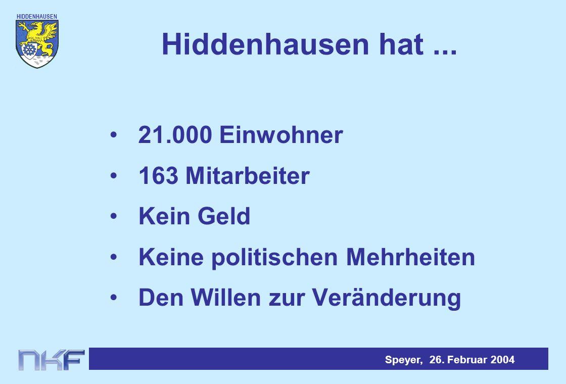 Hiddenhausen hat ... 21.000 Einwohner 163 Mitarbeiter Kein Geld