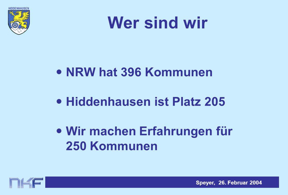 Wer sind wir NRW hat 396 Kommunen Hiddenhausen ist Platz 205
