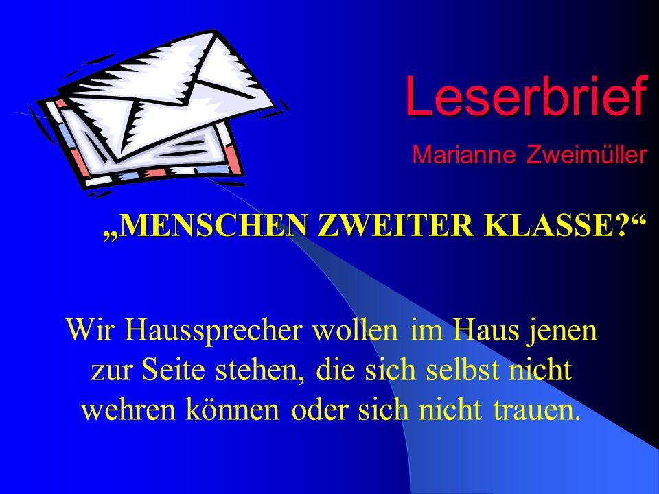 """Leserbrief Marianne Zweimüller """"MENSCHEN ZWEITER KLASSE"""