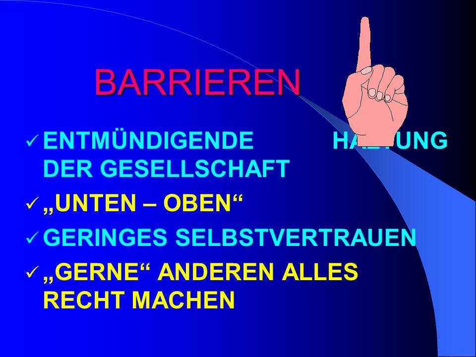 """BARRIEREN ENTMÜNDIGENDE HALTUNG DER GESELLSCHAFT """"UNTEN – OBEN"""