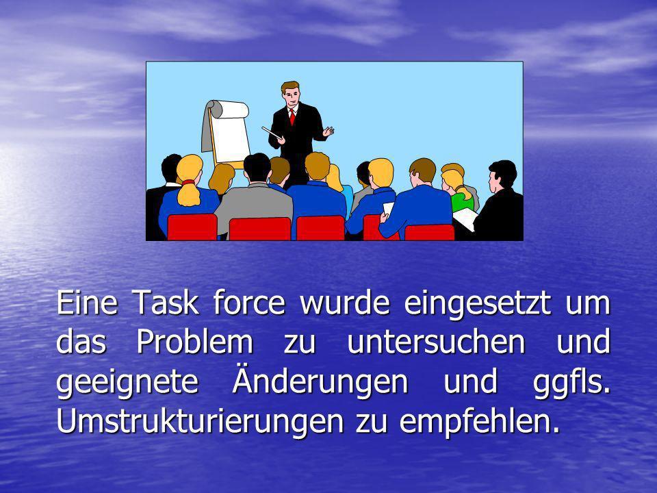 Eine Task force wurde eingesetzt um das Problem zu untersuchen und geeignete Änderungen und ggfls.
