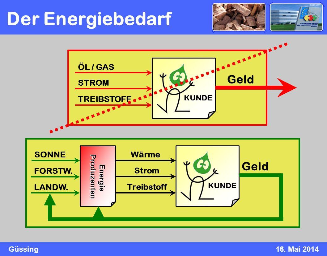 Der Energiebedarf Geld Geld ÖL / GAS STROM TREIBSTOFF SONNE Wärme