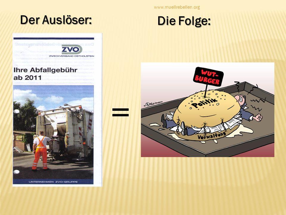 www.muellrebellen.org Der Auslöser: Die Folge: =