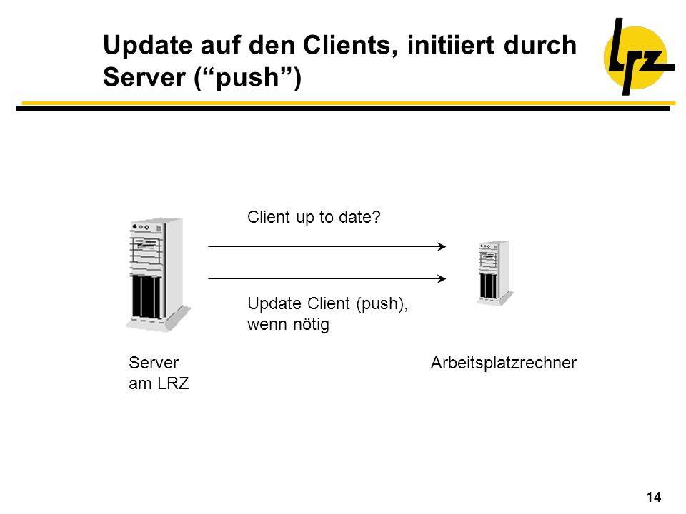 Update auf den Clients, initiiert durch Server ( push )