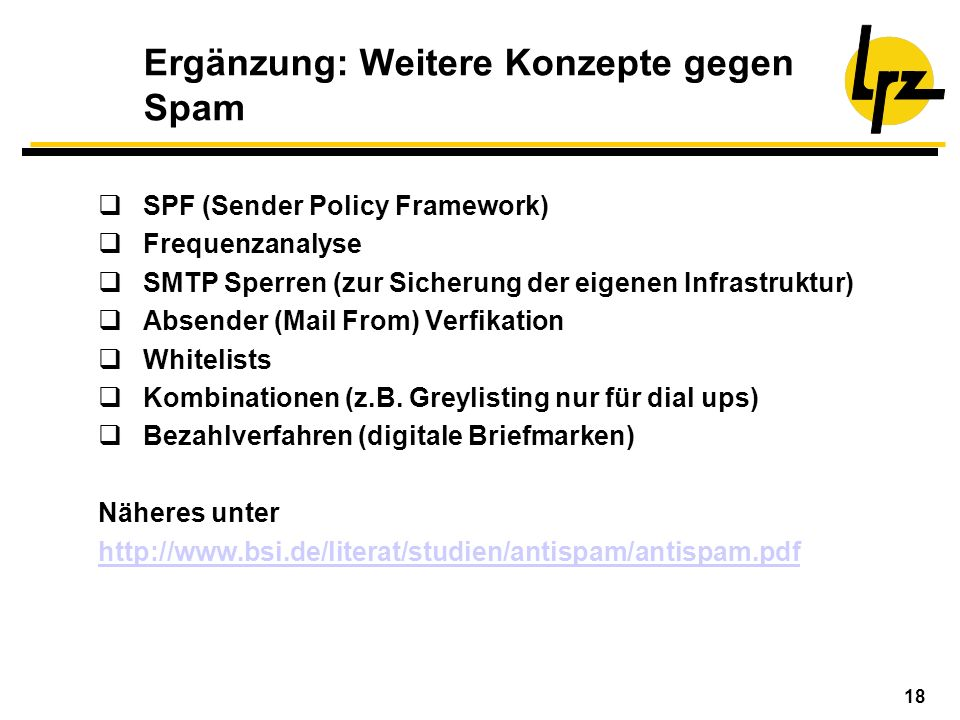 Ergänzung: Weitere Konzepte gegen Spam