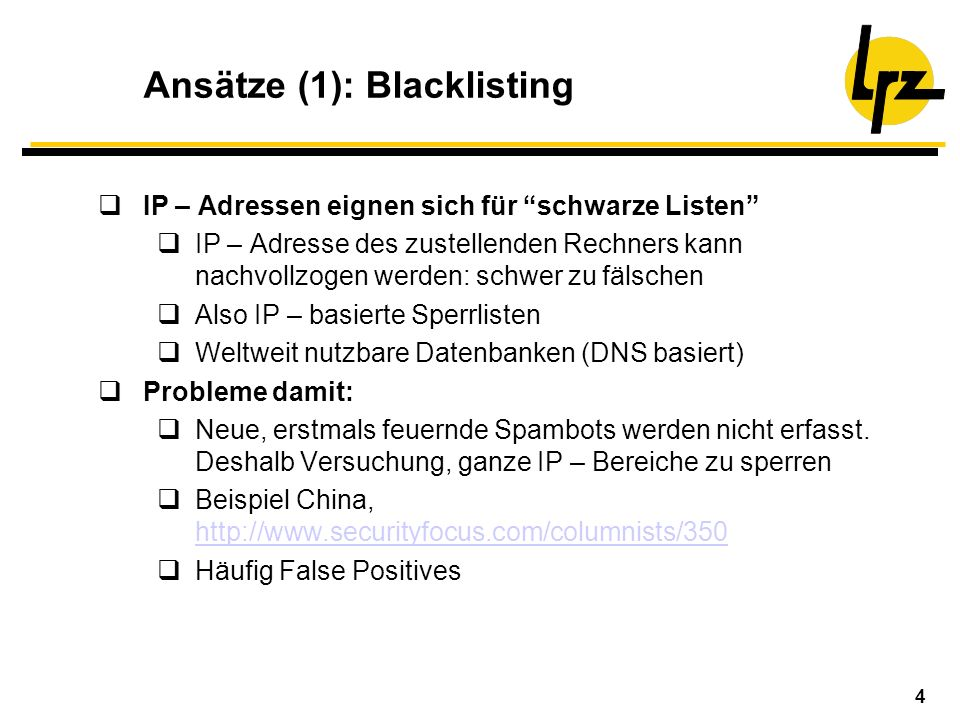 Ansätze (1): Blacklisting