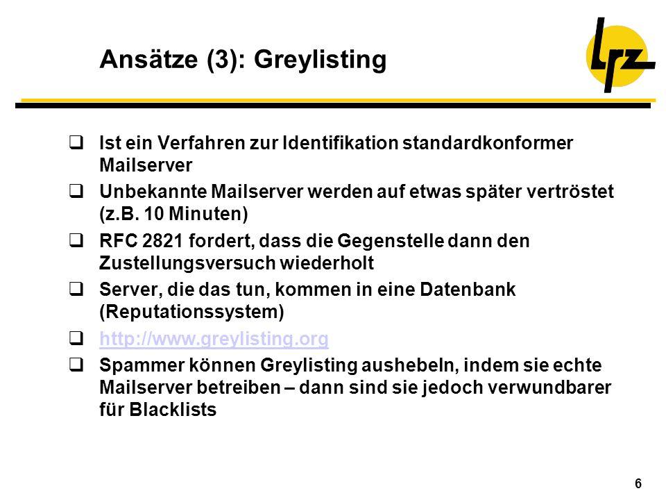 Ansätze (3): Greylisting