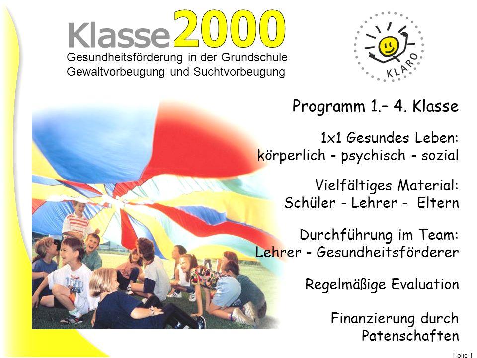 2000 Klasse Programm 1.– 4. Klasse 1x1 Gesundes Leben: