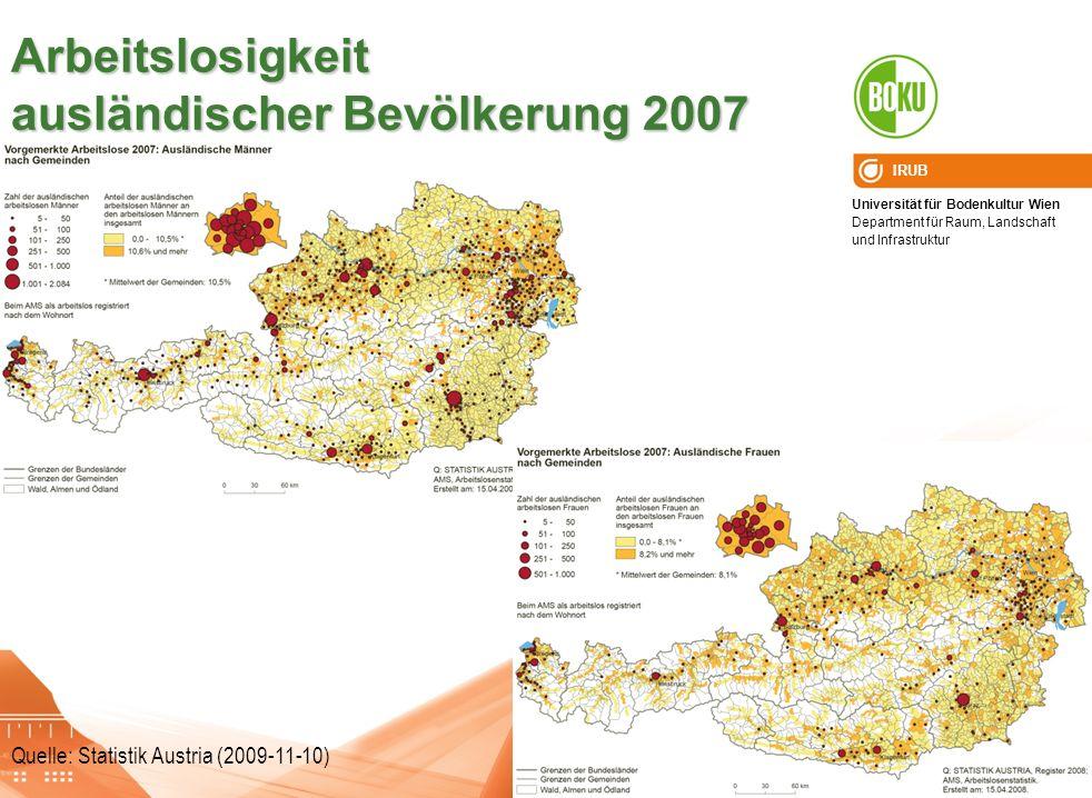 Arbeitslosigkeit ausländischer Bevölkerung 2007