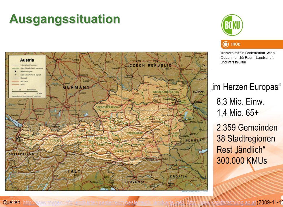 """Ausgangssituation """"im Herzen Europas 8,3 Mio. Einw. 1,4 Mio. 65+"""