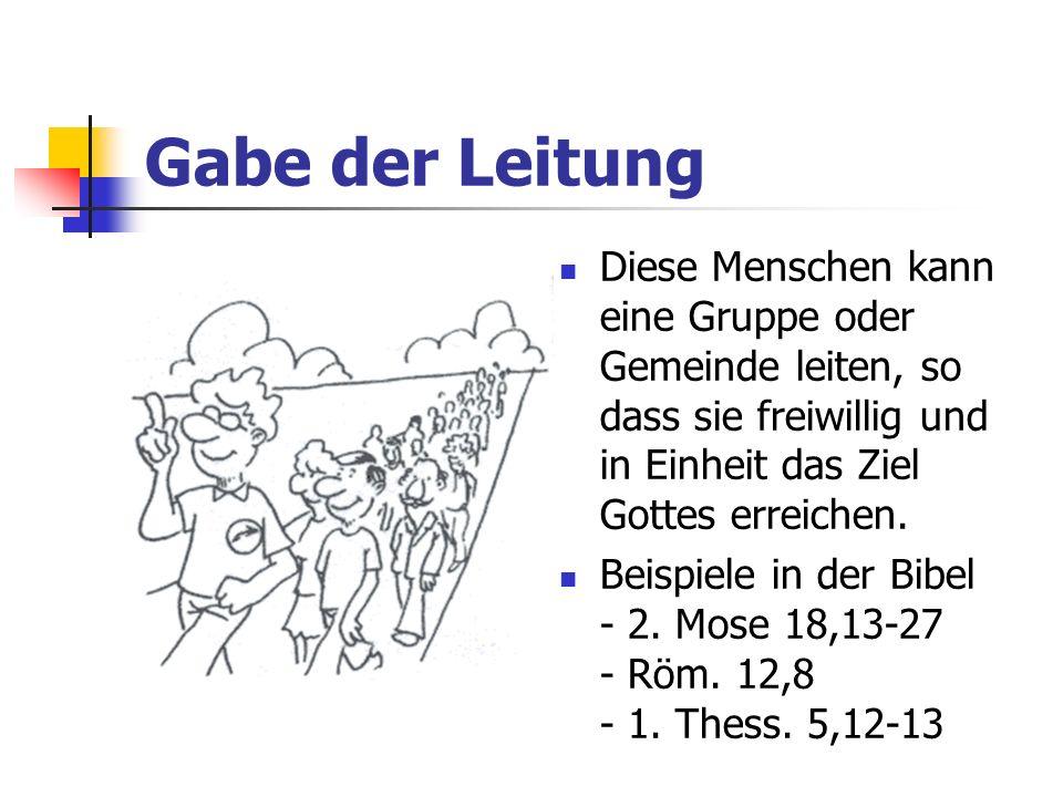 Gabe der LeitungDiese Menschen kann eine Gruppe oder Gemeinde leiten, so dass sie freiwillig und in Einheit das Ziel Gottes erreichen.