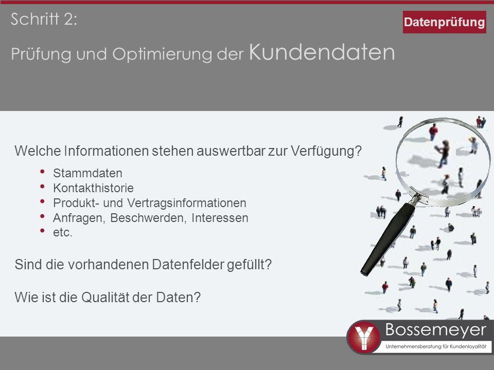 Prüfung und Optimierung der Kundendaten