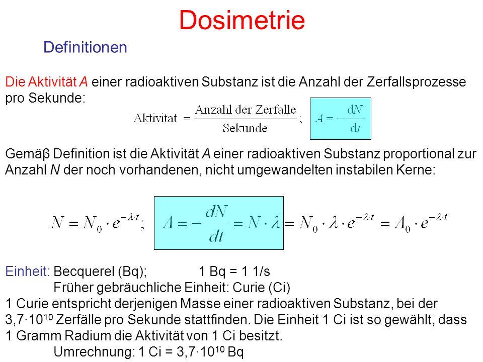 Dosimetrie Definitionen