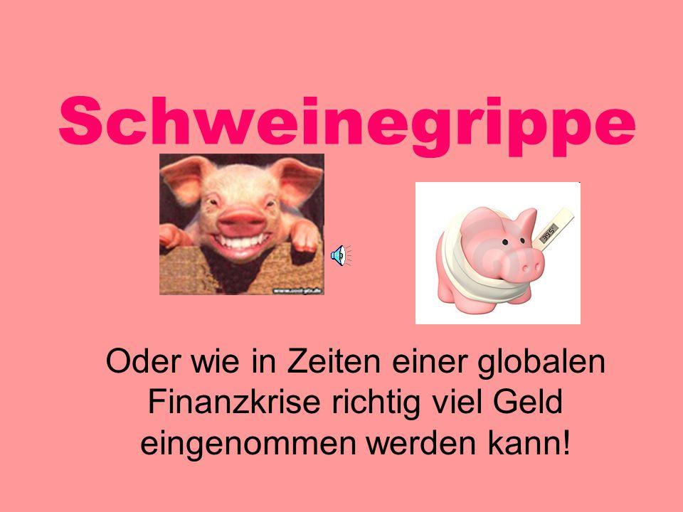 Schweinegrippe Oder wie in Zeiten einer globalen Finanzkrise richtig viel Geld eingenommen werden kann.
