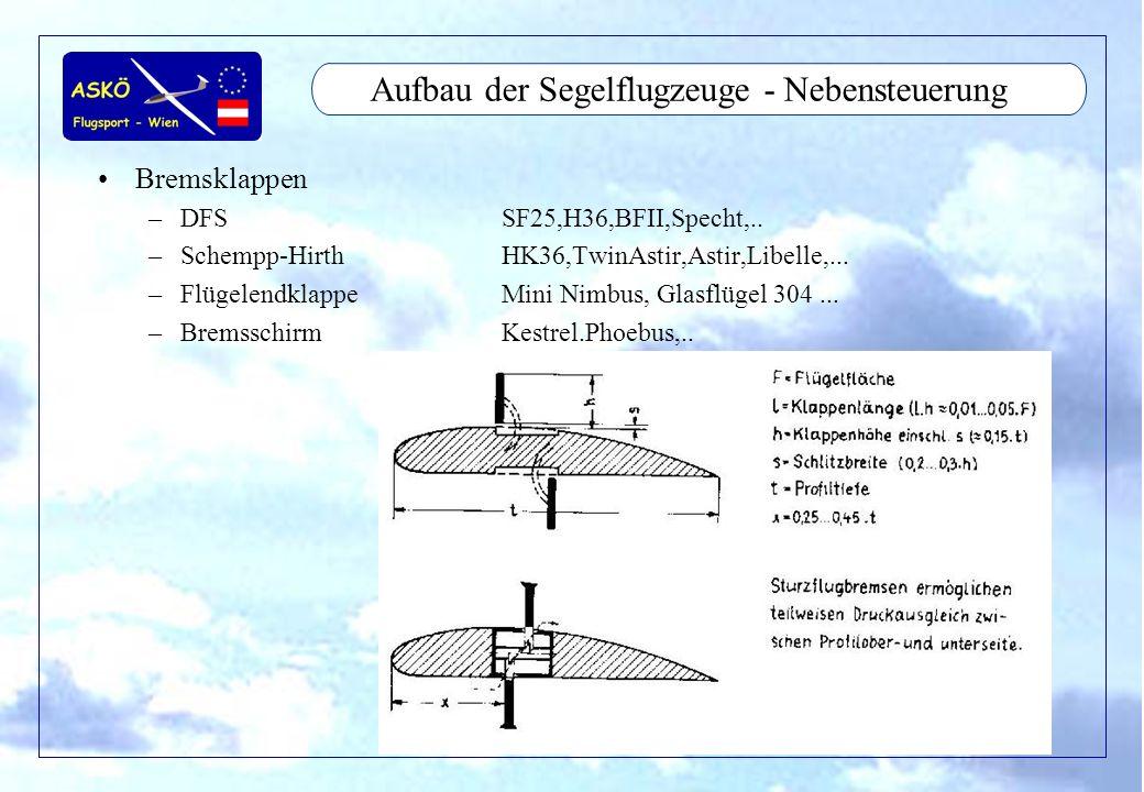 Aufbau der Segelflugzeuge - Nebensteuerung