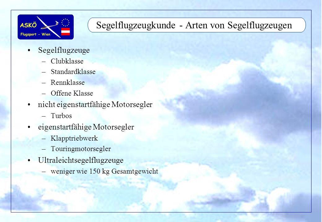 Segelflugzeugkunde - Arten von Segelflugzeugen