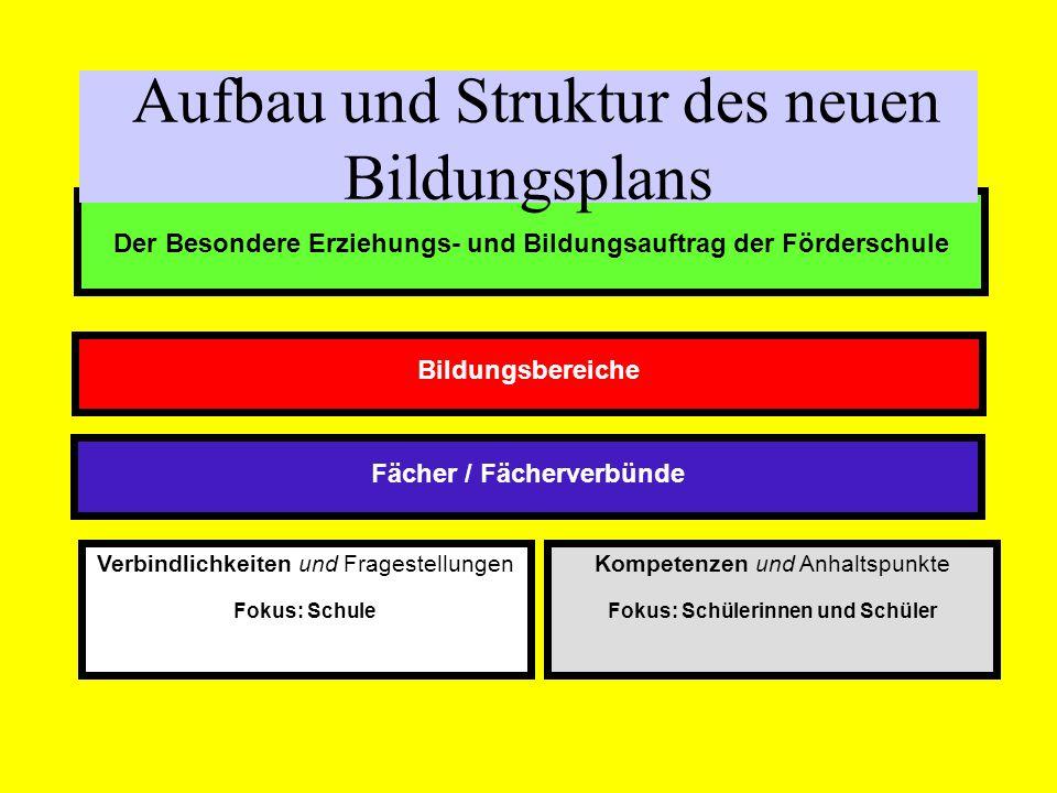 Aufbau und Struktur des neuen Bildungsplans