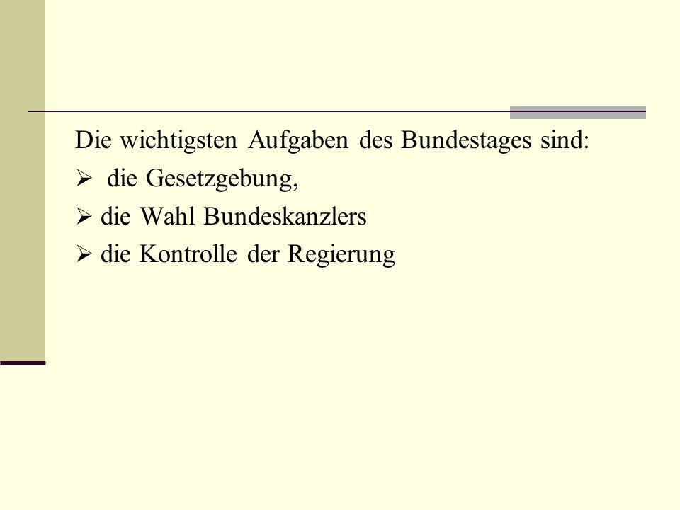 Die wichtigsten Aufgaben des Bundestages sind: