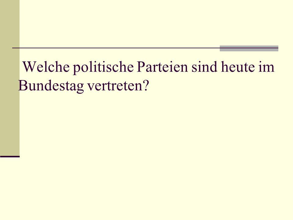 Welche politische Parteien sind heute im Bundestag vertreten
