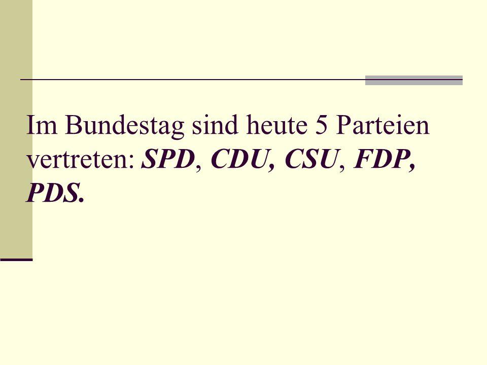 Im Bundestag sind heute 5 Parteien vertreten: SPD, CDU, CSU, FDP, PDS.